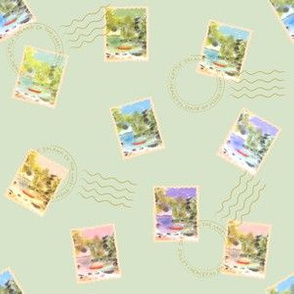 Stamps From The Lake - Green