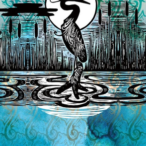 Moon and Heron