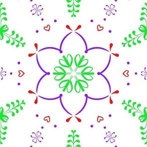 Purple Flowers on White