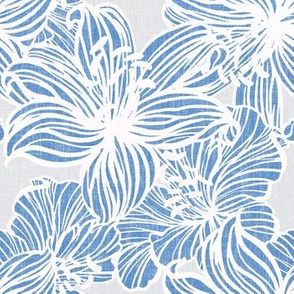 tropical floral line work on gray linen