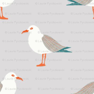 Tiny Seagulls on Gray
