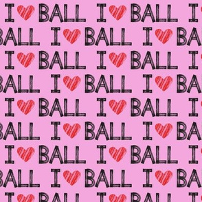 I heart ball - pink - dog - LAD19