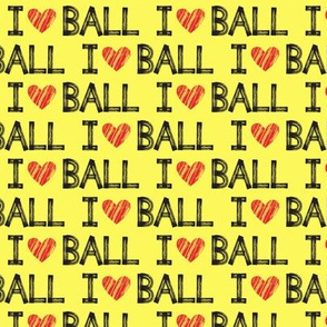 I heart ball - yellow - dog - LAD19