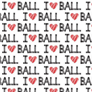 I heart ball - white - dog - LAD19