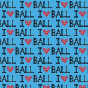 I heart ball - blue - dog - LAD19