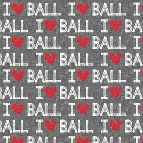 I heart ball - grey - dog - LAD19