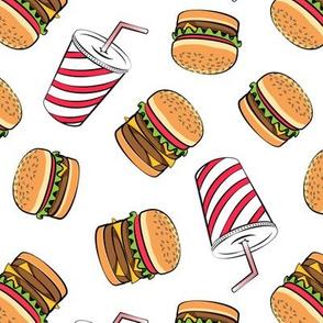 Hamburgers and Milkshakes - foodie - fast food - white -  LAD19