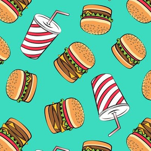 Hamburgers and Milkshakes - foodie - fast food - aqua -  LAD19