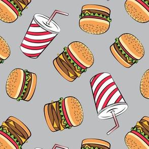 Hamburgers and Milkshakes - foodie - fast food - grey -  LAD19