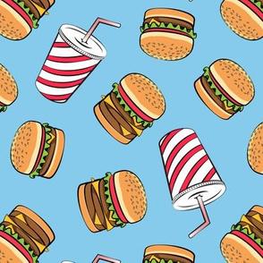 Hamburgers and Milkshakes - foodie - fast food - blue -  LAD19