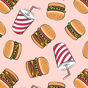 Hamburgers and Milkshakes - foodie - fast food - pink -  LAD19