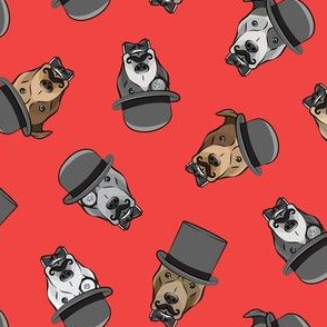 Dapper dogs - pit bull - top hat mustache - red - LAD19