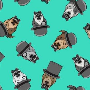 Dapper dogs - pit bull - top hat mustache - teal  - LAD19