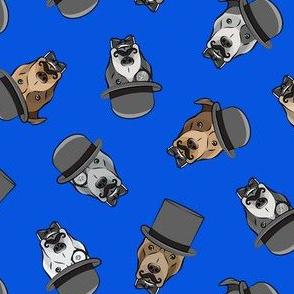 Dapper dogs - pit bull - top hat mustache - royal - LAD19