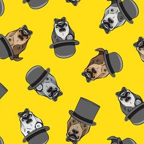 Dapper dogs - pit bull - top hat mustache - yellow - LAD19