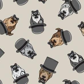 Dapper dogs - pit bull - top hat mustache - beige - LAD19