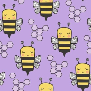 Bees Honeycomb Black&White on Purple 3 inch