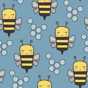 Bees Honeycomb Black&White on Dark Blue  3 inch