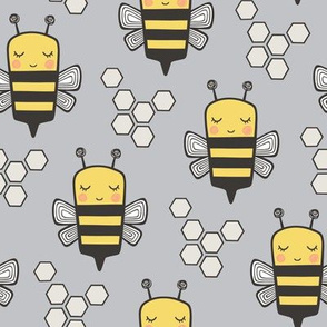 Bees Honeycomb Black&White on Grey 3 inch