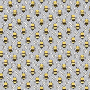 Bees Honeycomb Black&White on Grey O,75 inch