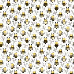 Bees Honeycomb Black&White on White O,75 inch