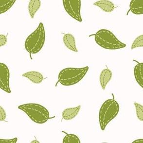 Cute falling green leaf illustration