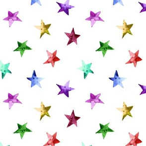 Rainbow watercolor stars || colorful pattern for gender neutral nursery