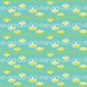 Pretty flower damask pattern. Seamless repeating flourish scroll.
