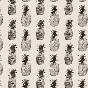 Pineapples on taupe || monochrome fruit pattern
