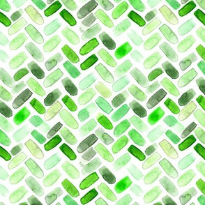 Green watercolor herringbone