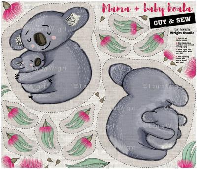 Mama and baby koala cut and sew