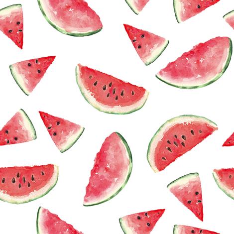 Juicy Watermelon // White fabric by hipkiddesigns on Spoonflower - custom fabric