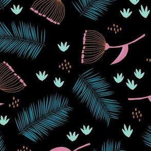 Australian wild flowers and leaves summer night print blue black pink