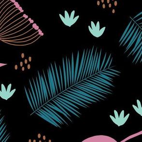 Australian wild flowers and leaves summer night print blue black pink JUMBO