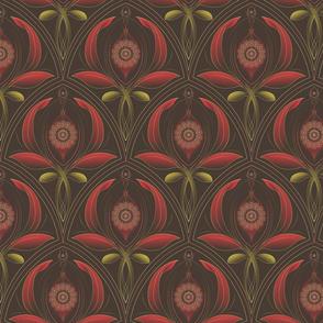 ★ WARATAH BUD ★ Small Scale / Collection : Australian Flowers - Art Deco Prints