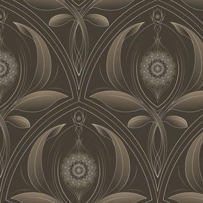 ★ MONOCHROME WARATAH BUD ★ Large Scale / Collection : Australian Flowers - Art Deco Prints