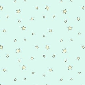 Mini star print, blue and yellow
