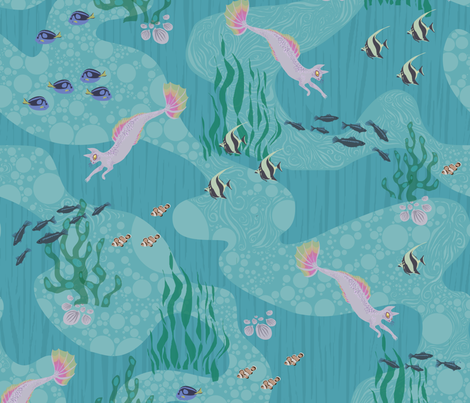 Naked Mercat - the Mercat collection fabric by dilatorysloth on Spoonflower - custom fabric