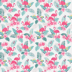 Tropical Flamingos - grey - small