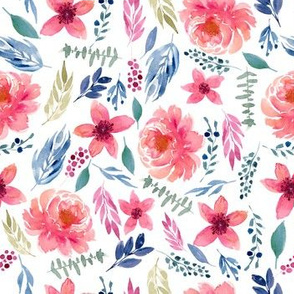 Watercolor Coral Floral with Navy and greenery