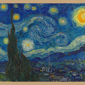 "Starry Night - bright colors - 36""x 42"" panel"