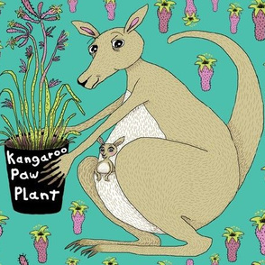 kangaroo with kangaroo paw plant, large scale, green beige khaki brown orchid lime