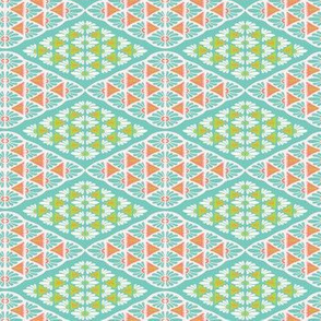 Pretty geometric daisy diamond damask pattern