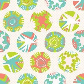 Bright flower polka dot pattern.