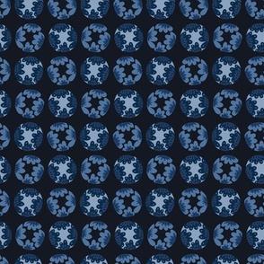 Indigo blue dye flower polka dot pattern.