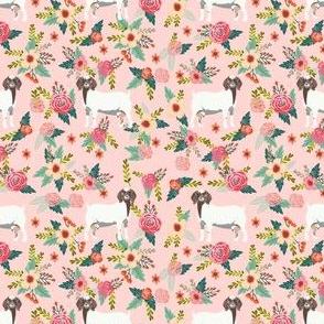 boer goat floral fabric - goat fabric, goat floral fabric, boer goat, cute farm animals fabric, farm animals fabric, animal fabric - pink