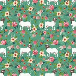 boer goat floral fabric - goat fabric, goat floral fabric, boer goat, cute farm animals fabric, farm animals fabric, animal fabric - green
