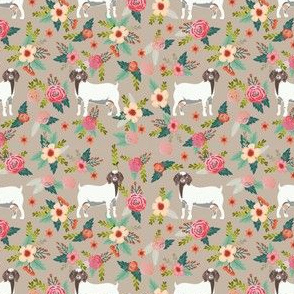 boer goat floral fabric - goat fabric, goat floral fabric, boer goat, cute farm animals fabric, farm animals fabric, animal fabric -  tan