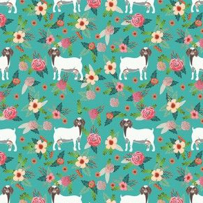 boer goat floral fabric - goat fabric, goat floral fabric, boer goat, cute farm animals fabric, farm animals fabric, animal fabric - blue