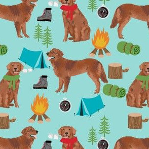 golden retriever dog camping fabric - dog fabric, camping fabric, red retriever fabric, cute pet design - blue